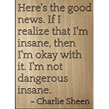 """Here's the good news. If I realize that..."" quote by Charlie Sheen, laser engraved on wooden plaque - Size: 8""x10"""