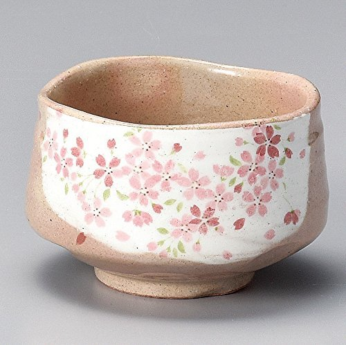 Yamakiikai Minou Pottery Japanese Tea Bowl Shirokesho Pink Cherry blossoms Made by カネ仁作 (KaneJin) F1727 from Japan