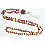 Chakra Prayer Beads Necklace Japamala 108 Rudraksha Meditation Malas Healing Mala
