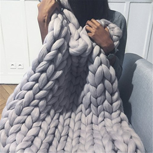 HomeModa Studio HomeModa Studio Chunky Knit Throw Blankets, Super Bulky Soft Warm Braid Knit Rug Couch Bed Lounge Home Decorator (Blanket: 130x170 cm, Grey) price tips cheap