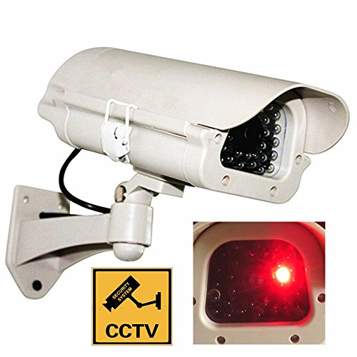 CCTV security surveillance dummy fake camera bullet indoor outdoor simulated cameras w/ Flashing LED light + Warning Security Alert Sticker Decals