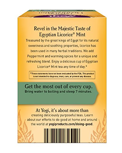 Packaging May Vary 16 Count Pack of 6 Yogi Tea Egyptian Licorice Mint