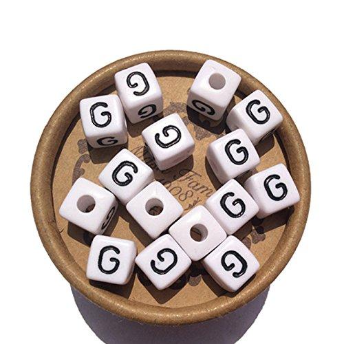 Bead Block Alphabet (Alphabet Letter G Beads 10mm White Cubes Blocks for Kids Jewelry Bracelet Making)