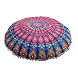 "32"" Floor Pillow Cover Cushion Floor Pillow Cover Mandala Ottoman Pouf case Pillows Decorative Throw Round Pillowcase Indian Cushions Seating Bohemian for Couch Covers Decor Boho"