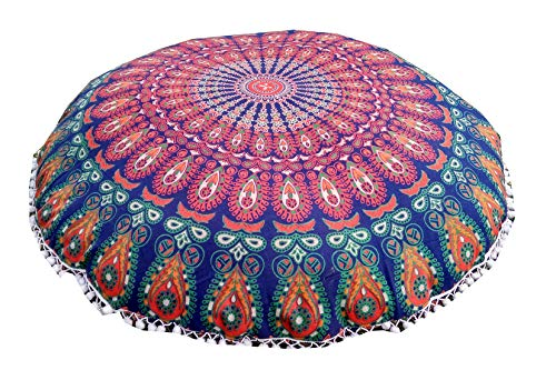 32'' Floor Pillow Cover cushion floor pillow cover mandala Ottoman pouf case pillows decorative throw round pillowcase indian cushions seating bohemian for couch covers decor boho by Indian Craft Castle