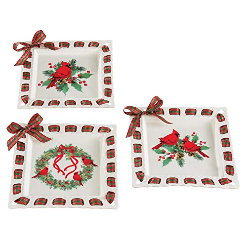 Cardinal and Evergreen Decorative Serving Plates with Plaid Ribbon & Bow Border- Holiday Serveware for Kitchen and Dinning Room