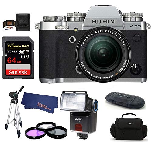 FUJIFILM X-T3 Mirrorless Digital Camera with XF 18-55mm f/2.8-4 R LM OIS Zoom (Silver) Bundle, Includes: SanDisk 64GB Extreme PRO SDXC Memory Card, Card Reader, Flash and More.