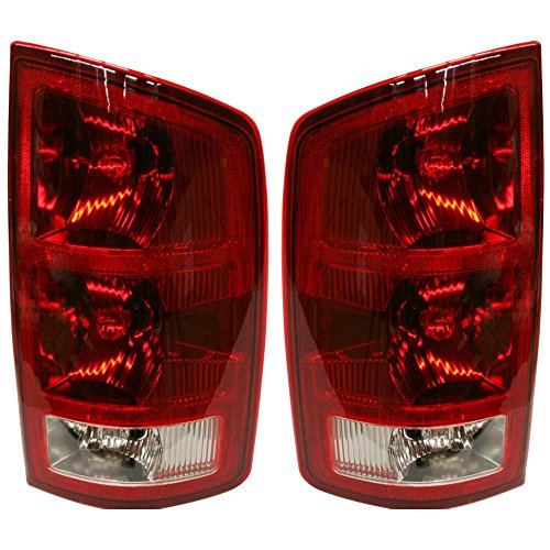 Evan-Fischer EVA15672055378 Tail Light for 2005 Dodge Ram 1500 Set of 2 Halogen Clear & Red Lens With Bulb(s) Left and Right ()