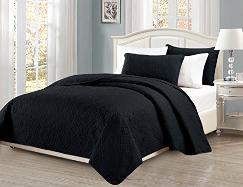 UPC 635309781277, Fancy Collection 3pc King/California King Oversize Bedspread Coverlet Set Embossed Solid Black New