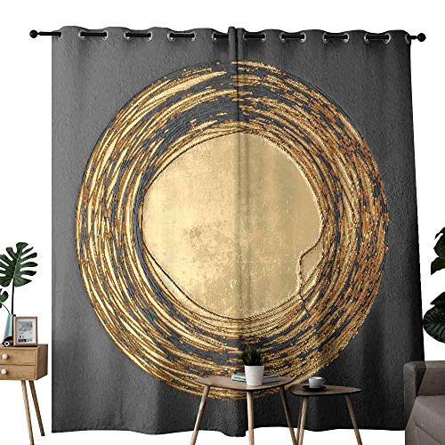 duommhome Decorative Curtains for Living Room 3D Wall Art Picture Gold Modern Privacy Protection W84 x L108
