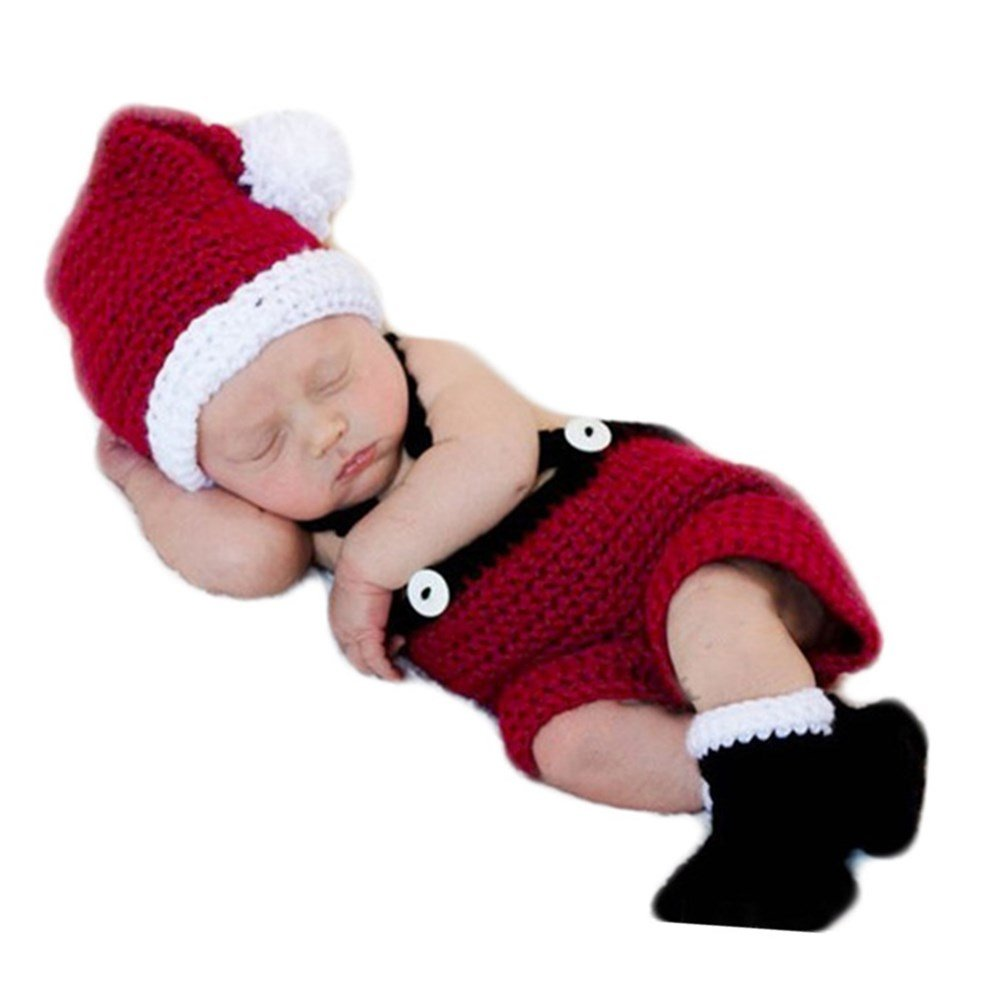 2f7df18daa5 Amazon.com  Baby Photography Props Christmas Outfits Newborn Boy Girl Photo  Shoot Costume Crochet Knitted Santa Hat Rompers Boots Red  Clothing