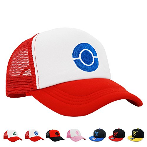 PopCrew Embroidered Team Trainer Hat for Anime Cosplay Costume, Trucker, Snapback Cap (Blue) ()