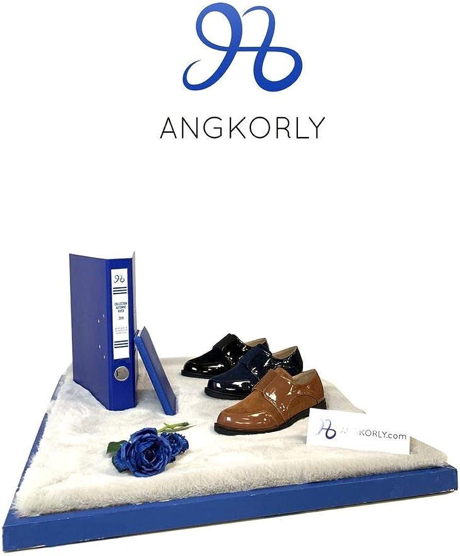 Scarpe Moda Scarpa Derby Oxford BCBG Elegante Donna Verniciato Elastico Tacco a Blocco 3 CM Angkorly