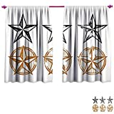 Texas Star Waterproof Window Curtain Vintage Western Stars Antique Hand Drawn Illustration Stripes