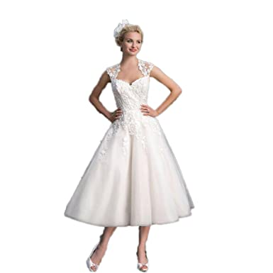 f995893162 RMDress Vintage Tea Length Lace Bridal Gown Short Wedding Dress 1950s Style  Bride at Amazon Women s Clothing store