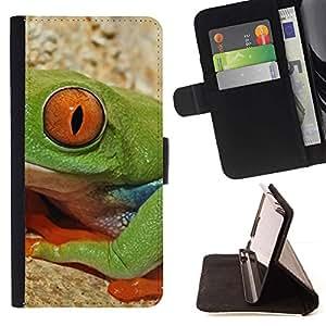 For Samsung Galaxy A5 ( A5000 ) 2014 Version Case , Rana Naturaleza Ojo profundo Ecuador- la tarjeta de Crédito Slots PU Funda de cuero Monedero caso cubierta de piel