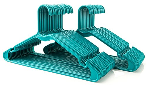 50pc Green Tubular Clothes Hanger Sets - Space Saving - Perfect for Dresses and Blouses - Work Great for Shirts, T-Shirts and Scarves