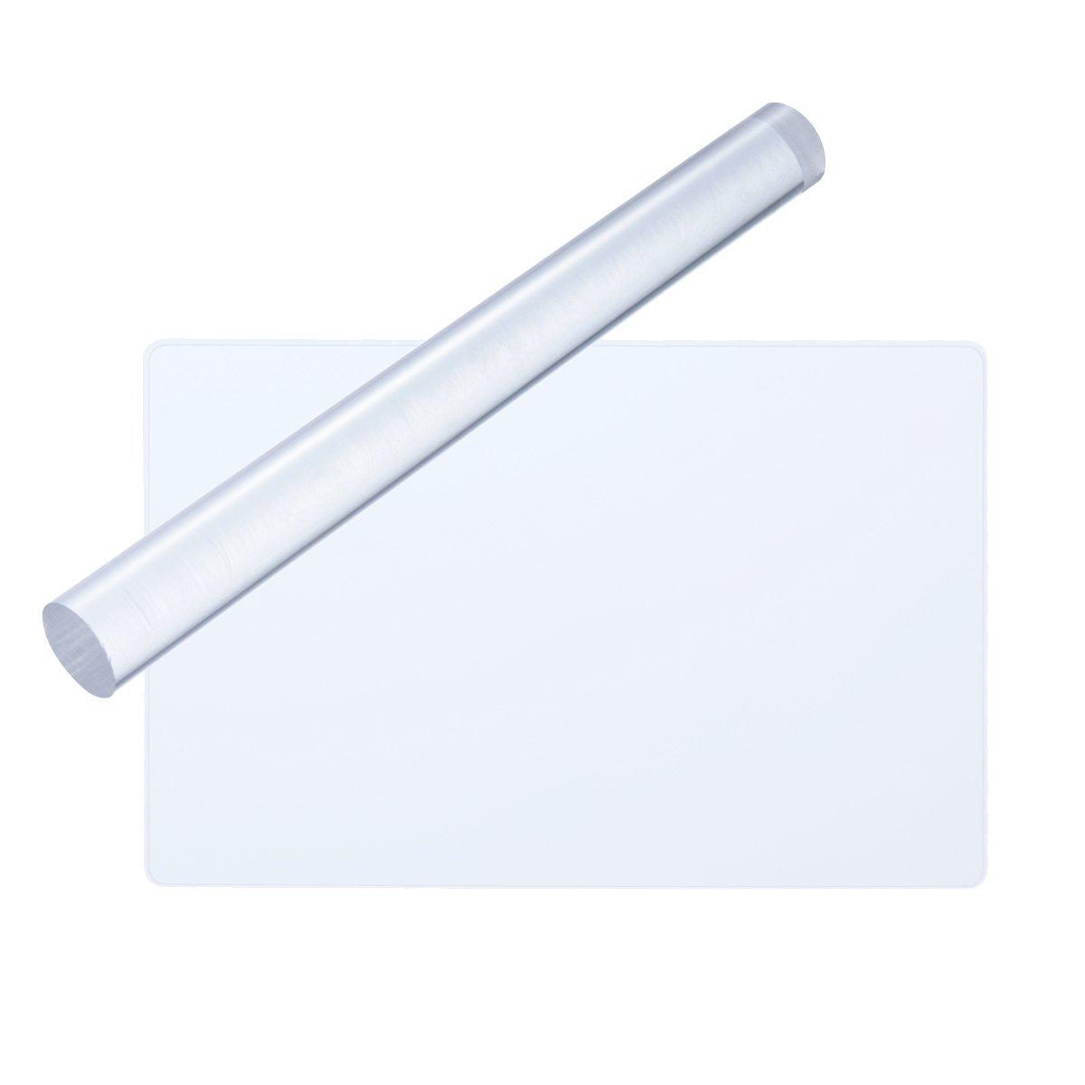 rosenice acrílico rodillo de arcilla rectangular acrílico hoja Junta con cuadrícula esencial 2pcs