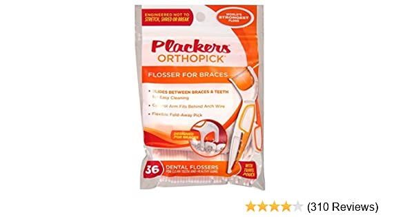 Amazon plackers orthopick flosser for braces pack of 4 36 amazon plackers orthopick flosser for braces pack of 4 36 flossers each health personal care solutioingenieria Image collections