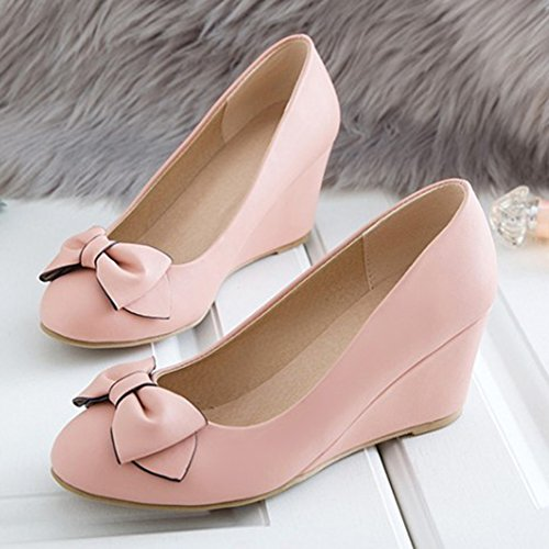 Escarpins Confortable Noeud Printemps Rose Compensé Femme Talon Aisun ZwnYaY