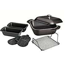 Tramontina 80142/205DS LYON Cold-Forged Induction-Ready Aluminum with Ceramic-Reinforced Nonstick Multi-Cooking System,7 Piece, Onyx, Made in Brazil