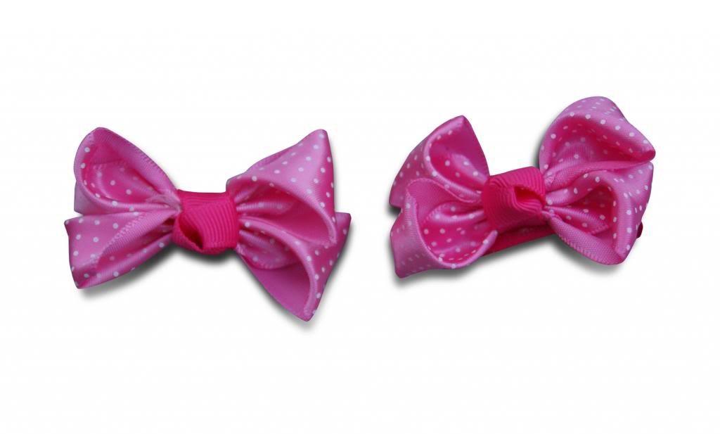 Jessidress Mini Clip para el pelo Clips con Topos Bebe Cinta de pelo Pinza Diadema Lazitos Rosa Oscuro