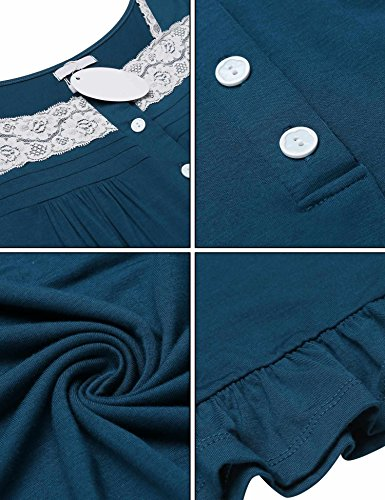 Women's Night Gowns Short Sleeve Button-Down Sleepshirt House Dress,Blue,Large by DonKap (Image #5)