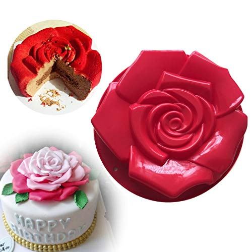 - Joyeee 11.8'' Rose Flower Cake Mold Pan, Silicone Baking Mold for Birthday Cake, Muffin, Bread, Pie, Flan, Tart, Mousse, Cheesecake - Non-Stick Baking Trays - Great For Parties, Holidays