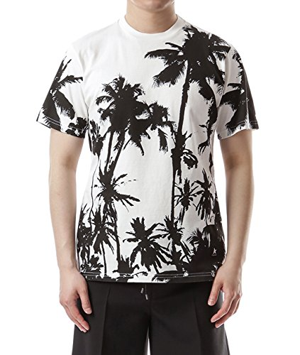 Wiberlux Golden Goose Men's Palm Tree Print T-Shirt XS White by Wiberlux