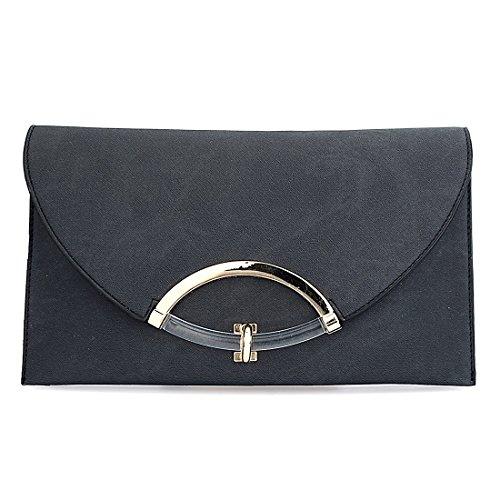 Envelope Bag Clutch Adjustable Black Handbag Messenger with Leather Bags Shoulder Women Strap Evening wf4R6qw8