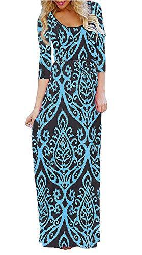 - BLUETIME Women's Maxi Dress 3/4 Sleeve Empire Waist Floral Print Casual Tunic Long Dresses with Pockets (02 Blue, S)