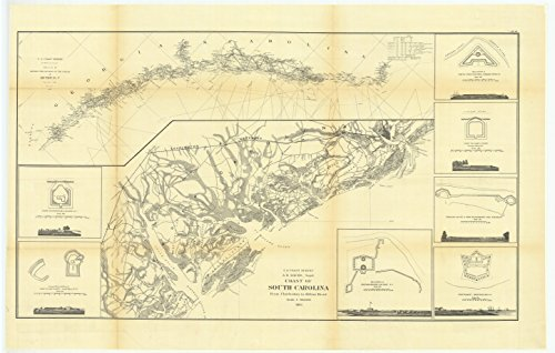 16 x 20 Glossy Nautical Map Printed on Metal Sketch E Showing the Progress of the Survey in Section Number 5 from 1847 to 1862 with Coast of South Carolina from Charleston to Hilton Head 1862 NOAA 67a