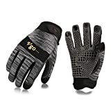 Vgo High Dexterity Synthetic Leather with Silicone for Antislip,Multipurpose Work Gloves(1Pair,Size XL,Grey,SL7895)