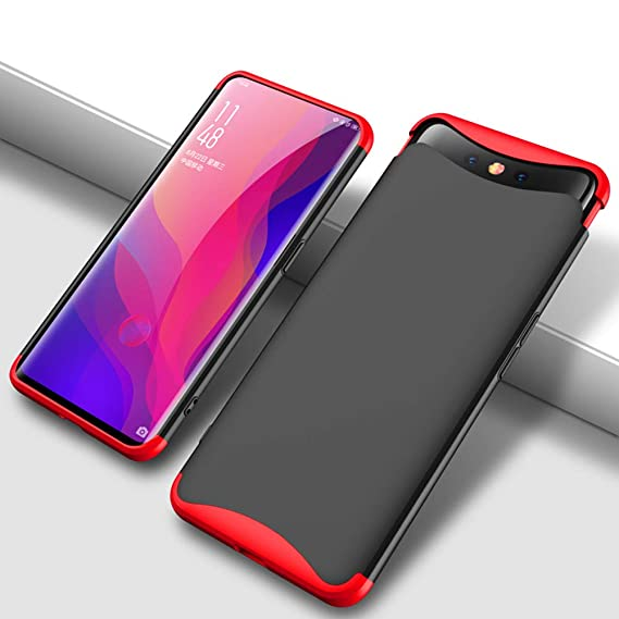hot sale online d26bb 9f32d GKK Oppo Find x Case, Dual Armor Three in One Design 360 Protection Hard PC  Case Compatible with Oppo Find x (redblack)