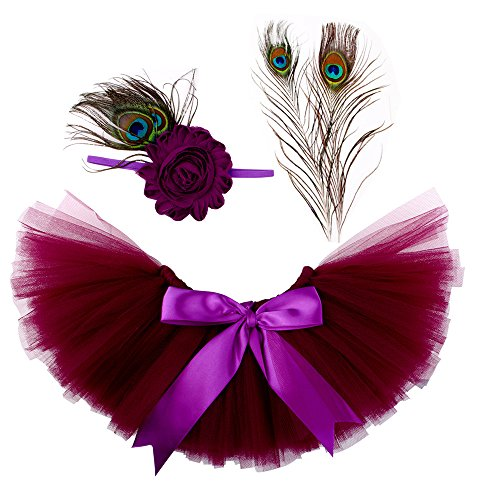 ISOCUTE Newborn Girl Photo Props, Baby Photography Peacock Feather Skirt Headband