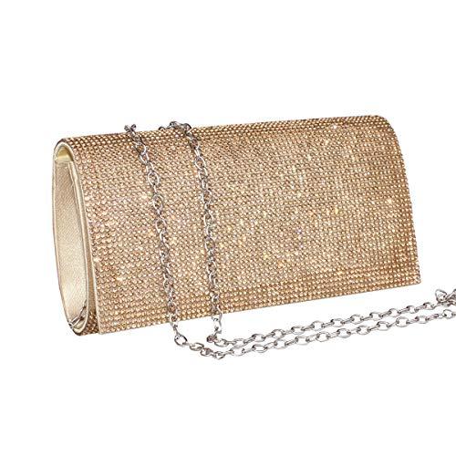 Womens Rhinestone Clutch Crystal Evening Bags Wedding Party Cocktail Purse Handbag.(gold-1)