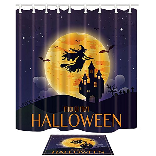 NYMB Halloween Decor, Witch Flying Over The Moon to Castle, 69X70in Polyester Fabric Bat Shower Curtain Suit with 15.7x23.6in Flannel Non-Slip Floor Doormat Bath Rugs (Flying Halloween Witch)