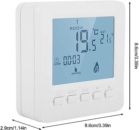 FTVOGUE Pantalla LCD Inteligente Termostato de calefacci/ón t/áctil Regulador de Temperatura Ambiente programable Bajo casa Instrumento de Temperatura Dom/éstica