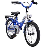 BIKESTAR Original Premium Safety Sport Kids Bike Bicycle with sidestand and accessories for age 4 year old children | 16 Inch Classic Edition | Blue & Silver