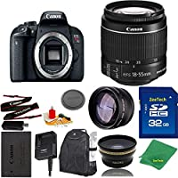 Great Value Bundle for T7I DSLR – 18-55mm STM + 32GB Memory + Wide Angle + Telephoto Lens + Backpack