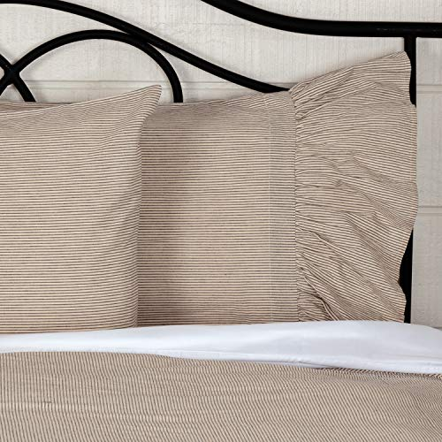 Sara's Ticking Ruffled Shams or Pillow Cases, Set of Two, 21