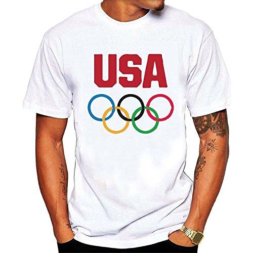 Toovee Men's Generic Cotton U.S. Flag Olympic Rings Team USA ()