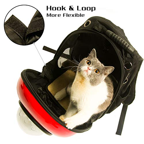 Xpect Cat Carrier Bubble Backpack Pet Travel Bag Small Dog Space Capsule Knapsack  Waterproof Breathable Red and White by Xpect (Image #3)
