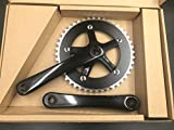 Single Speed Crankset 44T 165mm Crankarms 130 BCD Crankset for Mountain Road Bike Fixed Gear Bicycle(Square Taper, Black) (44T, Sprocket)