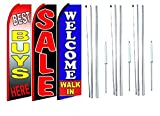 Best buys here sale Welcome Walk In King Swooper Feather Flag Sign Kit With Complete Hybrid Pole set- Pack of 3