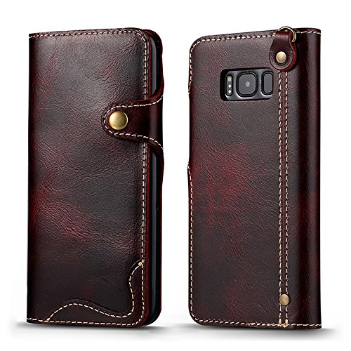 Galaxy S8 Plus Leather Case , Genuine Cowhide Handmade Wallet Protective Vintage Folio Cover with Snap Magnetic Closure and Hand Strap for Samsung Gal…