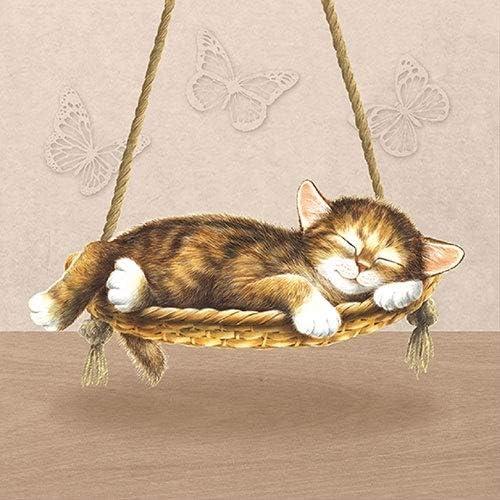 . 4 tovaglioli singoli per artigianato e arte tovagliolo 33 x 33 cm 3 strati Dreaming Cat 4 tovaglioli di carta per decoupage