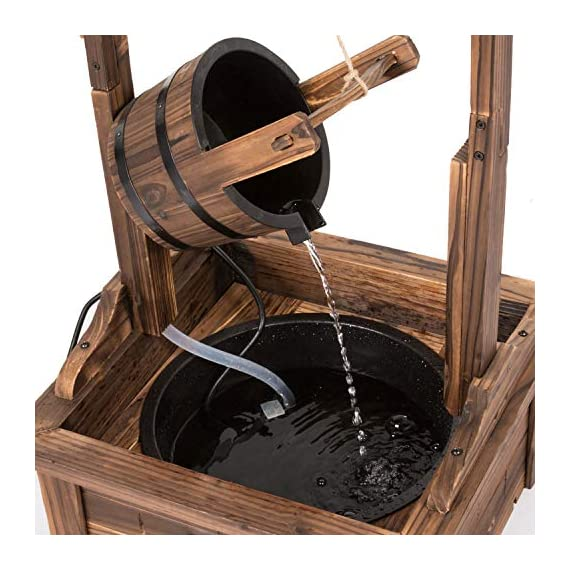 Worldrich 44-Inch Outdoor Garden Rustic Wood Wishing Well Water Fountain with Pump - UL Certified 120V Electric Pump- UL certified 120V electric pump serves as a powerful engine to keep the fountain flowing. High performance pump with 60Hz 3600r/min. Outdoor Deraction- This wishing well water fountain perfectly serves as a outdoor decoration for your backyard, patio, or garden. - patio, outdoor-decor, fountains - 51qxxWdU81L. SS570  -