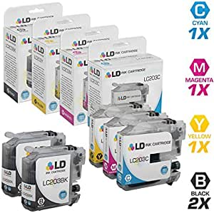 LD Compatible Ink Cartridge Replacement for Brother LC203 High Yield (2 Black, 1 Cyan, 1 Magenta, 1 Yellow, 5-Pack)
