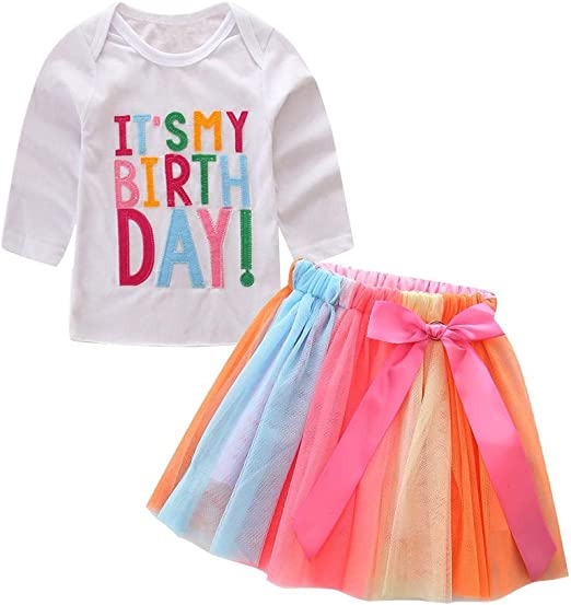 1 set baby kids girls outfits summer Tee+skirt party birthday Tutu dress outfits
